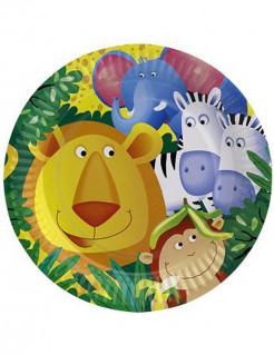 Pappteller Safari Kindergeburtstag-Deko 8 Stück bunt 23cm
