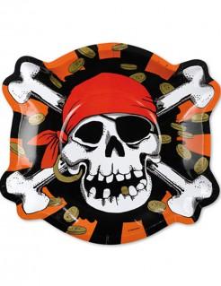 Pappteller Totenkopf Skull Piratenparty Deko 6 Stück rot-schwarz-weiss 23cm