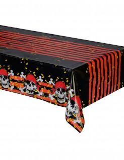 Tischdecke Totenkopf Skull Piratenparty Deko rot-schwarz-weiss 120x180cm