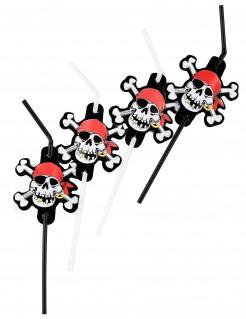 Trinkhalme Totenkopf Skull Piratenparty Deko 8 Stück rot-schwarz-weiss 24cm