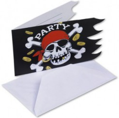 Einladungskarten Totenkopf Skull Piratenparty Deko 6 Stück rot-schwarz-weiss 14,7x9cm