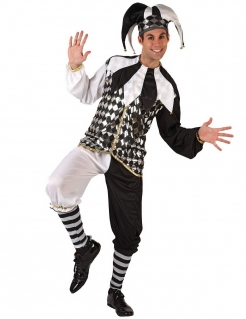 Harlekin Kostüm Hofnarr schwarz-weiss
