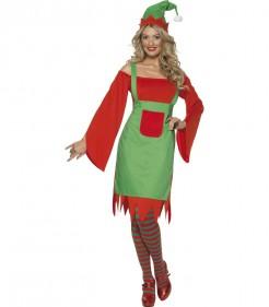 Sexy Wichtel Damenkostüm Weihnachten rot-grün
