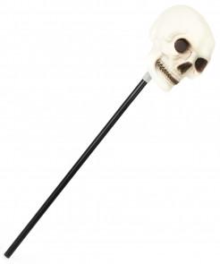 Totenkopf Zepter Halloween Kostümzubehör phosphoreszierend schwarz-weiss 60 cm lang