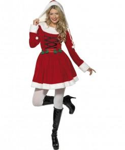 Süsse Weihnachtsfrau Damenkostüm Weihnachten rot-weiss