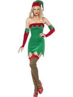 Sexy Weihnachtswichtel Damenkostüm Elfe grün-rot