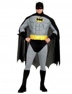 Muskulöses Batman™-Kostüm für Herren Superhelden-Kostüm grau-schwarz