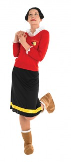 Olivia-Damenkostüm Popeye-Lizenzkostüm rot-schwarz-gelb