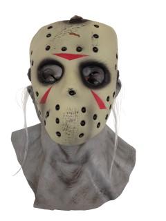 Jason Voorhees Halloween-Masken Lizenzartikel beige-rot-grau
