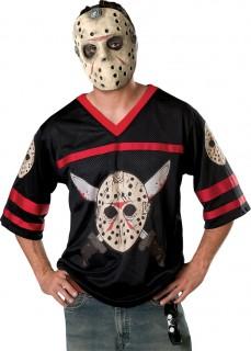 Jason™-T-Shirt und Maske Halloweenkostüm schwarz-rot-weiss