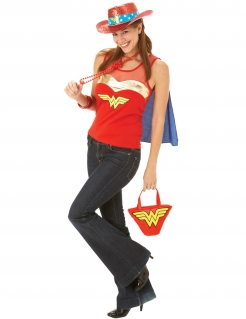 Wonder Woman™-Oberteil mit Umhang Lizenzprodukt rot-gold