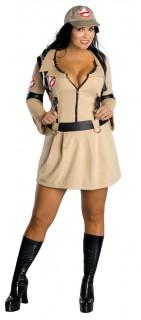Ghostbusters™-Kostüm für Damen Übergröße hellbraun-schwarz