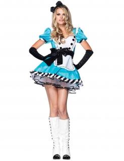 Sexy Alice Damenkostüm Märchen hellblau-schwarz-weiss