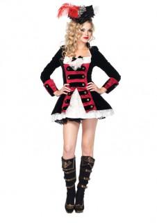 Elegante Piratin Damenkostüm schwarz-weiss-rot