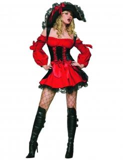 Sexy Piratinnen-Kleid Damenkostüm rot-schwarz