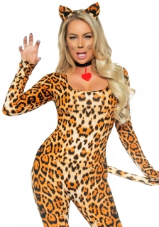 Heisse Leopardin Damenkostüm Wildkatze hellbraun