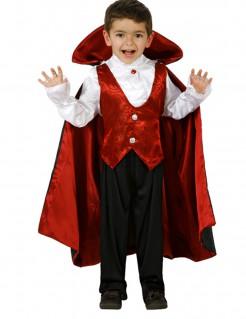Dracula Halloween-Kinderkostüm Vampir schwarz-rot-weiss