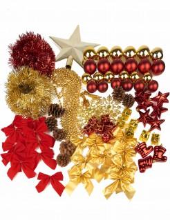 Weihnachtsbaum-Set Weihnachtsdeko Baumschmuck 80-teilig gold-rot
