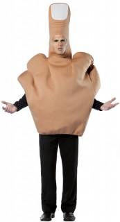Mittelfinger-Kostüm Stinkefinger-Unisexkostüm beige-weiss
