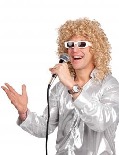 Herrenperücke mit Locken und Brille blond