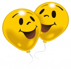 Lachgesicht-Luftballons 10 Stück gelb-schwarz