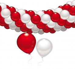 Luftballon-Girlande Partydeko 60 Ballons rot-weiss