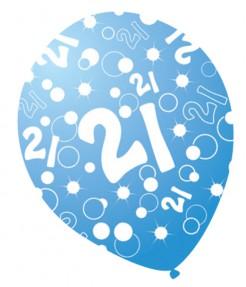 Luftballons mit Zahlen Geburtstagsdeko 6 Stück blau