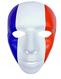 Frankreich Erwachsenen-Maske blau-weiß-rot