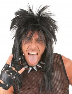 Glam Rock Perücke 80er Punker schwarz