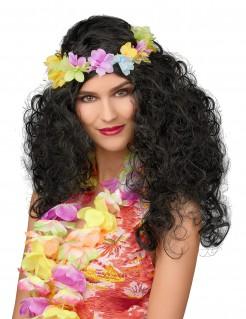 Hawaii-Damenperücke mit Locken und Blumenkette schwarz-bunt