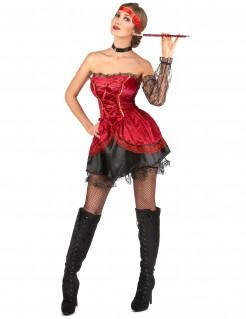 Sexy Showgirl-Damenkostüm Burlesque rot-schwarz