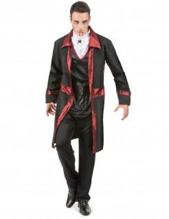 Herrenkostüm Vampir Halloween schwarz-rot