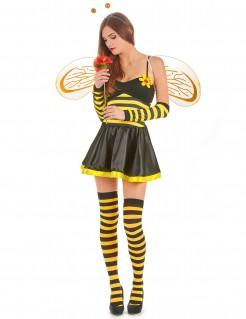 Sexy Biene Damenkostüm Bienchen schwarz-gelb