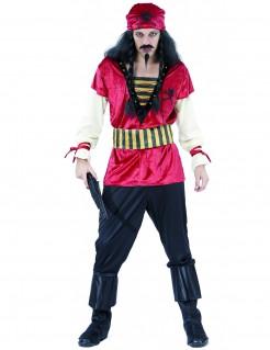 Verruchter Pirat Kostüm Seeräuber weinrot-schwarz