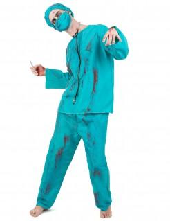 Zombie Chirurg Halloween-Herrenkostüm blau