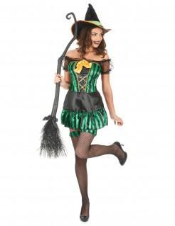 Hexe Halloween Damenkostüm grün-schwarz-gelb