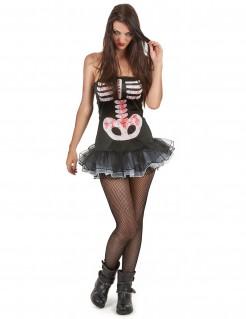 Skelett Damenkostüm für Halloween schwarz-weiss