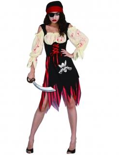 Zombie-Piratin Halloween Damenkostüm schwarz-rot-beige