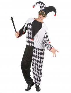 Edler Harlekin Kostüm Zirkus schwarz-weiss-rot