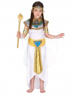 Ägypterin Kinderkostüm Pharaonin weiss-gold-bunt