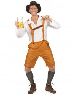 Bayer Herren-Kostüm Lederhose orange-weiss