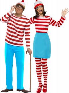 Wo ist Walter?™-Paarkostüm für Erwachsene Karneval rot-weiss-blau