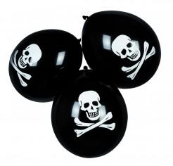 Piraten Luftballons Totenschädel 6 Stück schwarz-weiss 27,5cm