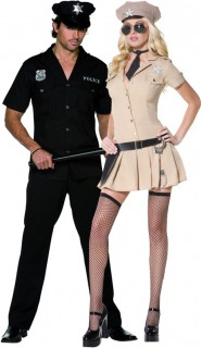 Polizist und Polizistin - sexy Paar-Kostüm - schwarz und sandfarben