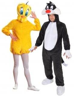 Looney Tunes™ Tweety und Sylvester Paarkostüm gelb-schwarz-weiss