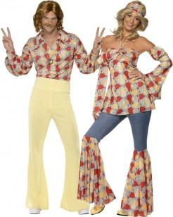 Hippie-Paarkostüm für Erwachsene beige-braun