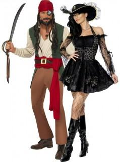 Piraten-Kostüm für Paare schwarz und grün-braun