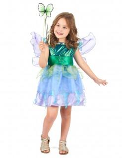 Fee-Mädchenkostüm Märchen-Kinderkostüm mit Flügeln blau-grün-lila