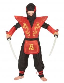 Ninja Kinderkostüm Assassine schwarz-gelb-rot