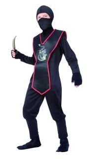 Heimtückischer Ninja Kinderkostüm schwarz-rot-silber